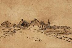 Rembrandt van Rijn, View of Diemen, c.1650-52. Pen, brown ink, wash on paper…
