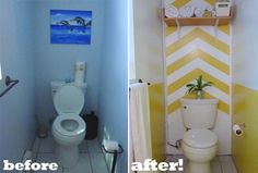 Yellow paint cheers up this bathroom, while the chevron and chair rail effect bring visual interest. Via @Apartment Therapy for MyColortopia.com