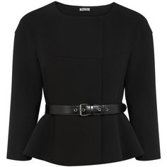 Miu Miu Belted cady peplum jacket ($435) ❤ liked on Polyvore featuring outerwear, jackets, tops, coats, blazers, black, genuine leather belt, belted jacket, leather belt and slim fit jacket