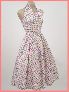 Halter sundress - want to sew some for summer! - wore lots of dresses just like this in my teenage, summertimes.