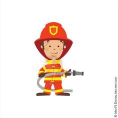 Firefighter Fireman Clipart Fire Truck Engine Rescue Clip Art Hydrant Axe Commercial Use Vector Teacher Graphics Digital Download 10686 #Firefighter #Fireman #Clipart