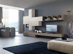 Graue Wandfarbe Wohnwand Modern Lowboard Hocker Creme Teppich