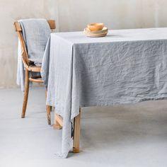 Light elephant grey linen tablecloth by notPERFECTLINEN on Etsy