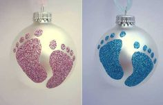 Baby foot ornament cute...would be easy enough to accomplish ... and what a special gift