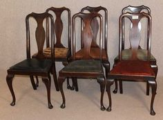 Set 6 Quality Queen Anne Mahogany High Back Dinng Chairs upholstered seats. Queen Anne, Upholstered Chairs, New Furniture, Dining Chairs, Diy Projects, Ebay, Home Decor, Decoration Home, Parsons Chairs