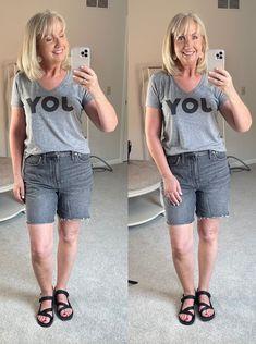 Everlane sandals, denim shorts, graphic tees, women's style