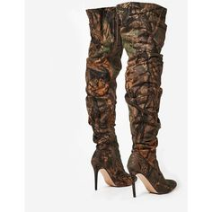 Cyrus Long Boot In Green Camouflage ($67) ❤ liked on Polyvore featuring shoes, boots, camo print shoes, green shoes, camouflage shoes, green boots and camo boots