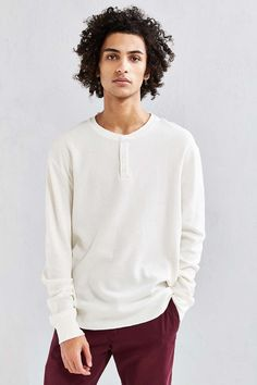 UO Nelson Waffle Henley Long-Sleeve Tee - Urban Outfitters