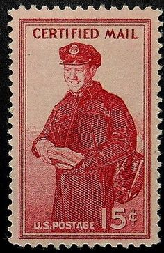 The Postman Certified Mail USA -Framed Postage Stamp Art 17744
