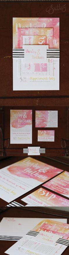 Custom designed Watercolour wedding invitation suite. Includes Invitation, information card, RSVP card and belly band. Printed on Tinto Cardstock to replicate watercolour paper.
