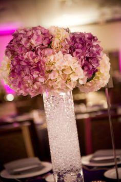 purple and white hydrangea, wedding centerpiece
