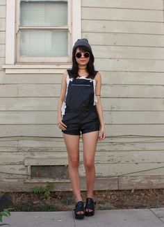 Buy my item on #vinted http://www.vinted.com/womens-clothing/rompers-and-jumpsuits-overalls/17716362-black-pleather-overall-shorts