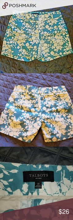 """Talbots floral shorts NWOT Teal shorts with white floral pattern.  Front and back pockets.  NWOT.  •Waist (laying flat): 15"""" •Rise:  8.5"""" •Inseam:  4.75""""  Bundle and save!!! Talbots Shorts"""