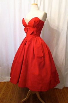 """Killer 1950's Red Ribbed Satin Strapless Party Cocktail Prom Dress by """"Lorrie Deb San Fran"""" Rockabilly VKV Pinup Vixen Shelf Bust Size-Small..."""