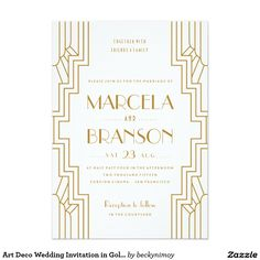 "Art Deco Wedding Invitation in Gold and White 5"" X 7"" Invitation Card"
