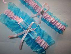 Turquoise and Soft Pink Garter Set, Wedding Garter, Bridal Garter, Keepsake Garter, Toss Away Garter, Prom Garter, Garter