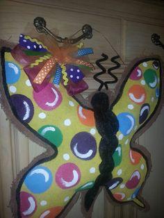 Butterfly burlap door hanger