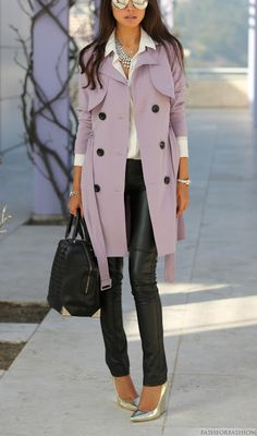 Loving the lilac trench coat and leather skinnies. #chic #fashion #style