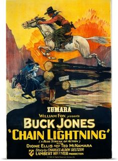 Solid-Faced Canvas Print Wall Art Print entitled Chain Lightning, None Old Movie Posters, Classic Movie Posters, Movie Poster Art, Vintage Posters, Old Movies, Vintage Movies, Wall Art Prints, Poster Prints, Canvas Prints