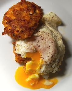 Bacon and Cheddar Cornbread Cakes with Fried Eggs