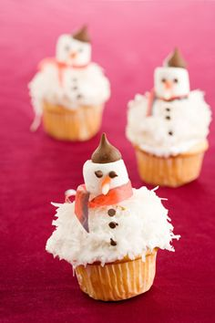 French Snowman Cupcakes - you could just not put the snowmen on top and just have coconut, SNOW