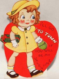 J1413 30s Girl Carries Her Purse to Town Vtg Mechanical Diecut Valentine Card | eBay