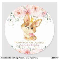 Blush Pink Floral Corgi Puppy Dog Thank You Favor Classic Round Sticker