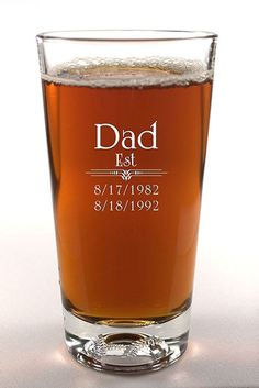 Personalized Beer Glass: Engrave this 16-ounce pilsner glass with a date he should never forget — the day he became a father! Click through for more first father's day gift ideas.