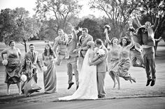 What a fun shot of the wedding party! Photo by Ashley B. #minneapolisweddingphotographers #bridalparty #goldenvalleygolfclub #golfcourse