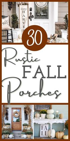 If you need inspiring ideas for your fall front porch in rustic style, take a look here! Check out 30 absolutely stunning fall front porch decorating ideas that will completely inspire you! Rustic fall ideas that you can DIY! Easy and charming! #ahundredaffections Wooden Pumpkins, White Pumpkins, Evergreen Planters, Porch Decorating, Decorating Ideas, Craft Ideas, Pumpkin Topiary, Traditional Decor, Autumn Theme
