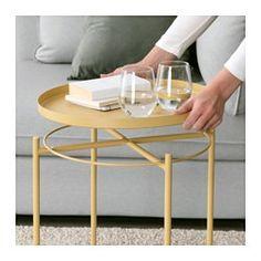 IKEA - GLADOM, Table/plateau, vert foncé, , Ce plateau amovible peut s'utiliser pour le service.Le plateau est doté de bords pour faciliter la prise en main et éviter que la vaisselle ne glisse.En acier peint époxy, la surface est résistante et facile à entretenir.La table est facile à soulever et déplacer, près de votre canapé ou fauteuil par exemple.