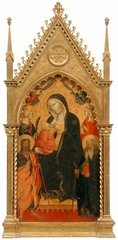 Agnolo Gaddi (c.1350–1396) was an Italian painter. He was born and died in Florence, and was the son of the painter Taddeo Gaddi.    Virgin and Child with Saints, 1387-91, Tempera on wood, 139 x 67 cm, Galleria dell'Accademia, Florence