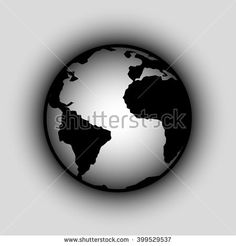 Planet Earth icon. Globe world map icon on gray. Easy to edit.