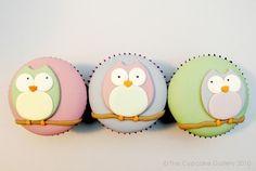 fondant owl cupcakes