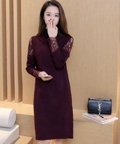EC04810 Long sleeve lace splice sweater long Korean style knitted dress