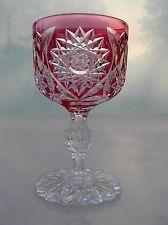 AMERICAN BRILLIANT CUT GLASS RARE CUT TO CLEAR WINE STEM HOLLAND BY DORFLINGER