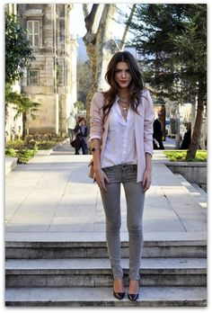 grey skinnies and pink/nude