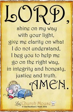 """Lord, shine on my way with your light, give me clarity on what I do not understand, I beg you to help me go the right way, in integrity and honesty, justice and truth. Amen."""