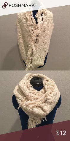 Sweater Scarf Sweater scarf with tassel fringe, super warm and cozy! ☃️ Accessories Scarves & Wraps