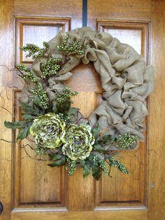 Burlap wreath floral accents.