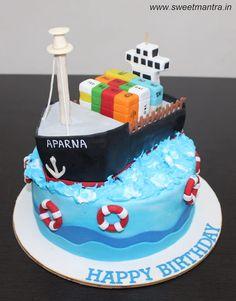 Super 16 Best Cargo Ship Cake Images Cake Boat Cake Ship Birthday Cards Printable Inklcafe Filternl