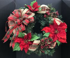 Plaid Burlap Poinsettia Wreath by Andrea