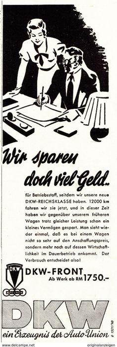 Werbung - Original-Werbung/ Anzeige 1936 - AUTO UNION / DKW FRONT - ca. 70 x 220 mm