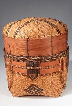 Africa | Basket from Angola; probably Sankuru people | Wood, cord and plant fiber | ca. 1907