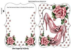 Pretty sparkle shoes with pink roses bracket card on Craftsuprint - Add To Basket!
