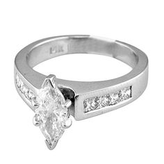 Certified Channel Style EGL Diamond Bridal Ring 1.22 TCW Marquise Shape 18k Gold on Etsy, $1,735.76