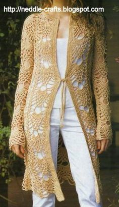 شغل ابره NEEDLE CRAFTS: باترون تونيك حريمي كروشيه طويل -very pretty crochet pattern