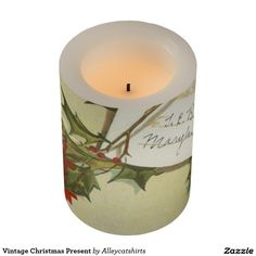 Vintage Christmas Present Flameless Candle