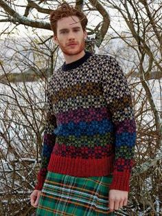 Ordie - Knit this Mens Fairisle sweater from Rowan Knitting and Crochet Magazine 56, a design by Martin Storey using the beautifully soft, traditionally spun Rowan Tweed (Wool) with round neck, set-in sleeves and tartan pattern. This knitting pattern is for the experienced knitter. Rowan Knitting, Fair Isle Knitting, Pullover Design, Sweater Design, Knitting Designs, Knitting Patterns, Knit Stranded, Knitwear Fashion, Men's Fashion