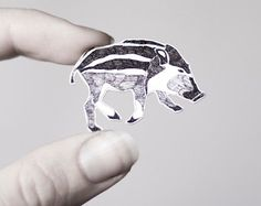 Wild boar brooch, shrink plastic, hand drawn